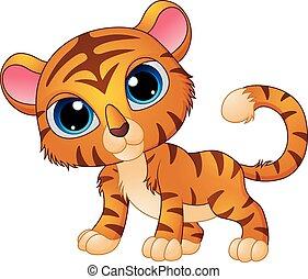 bebê, cute, tiger, caricatura