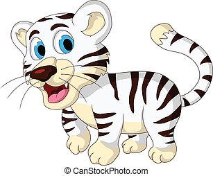 bebê, cute, tigre branco, andar