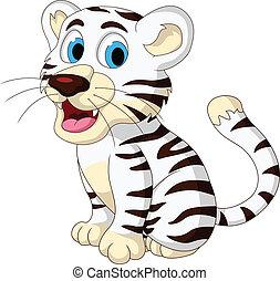 bebê, cute, tigre branco, posar