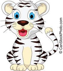 bebê, cute, tigre branco, sentando