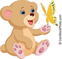 bebê, cute, tocando, urso, caricatura