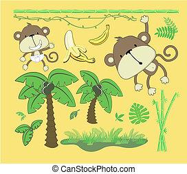 bebê, elementos, desenho, selva, caricatura