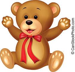 bebê, engraçado, caricatura, urso