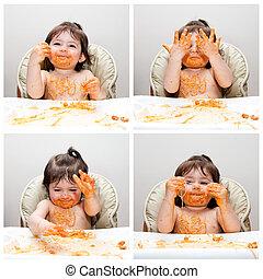 bebê, engraçado, comedor, sujo, feliz