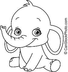 bebê, esboçado, elefante
