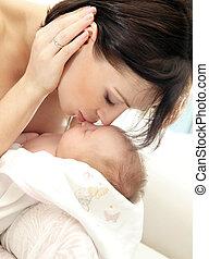 bebê, feliz, mãe