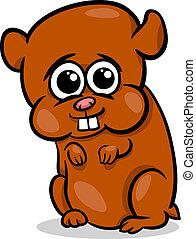 bebê, hamster, ilustração, caricatura