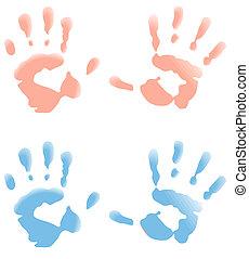 bebê, impressões, mão