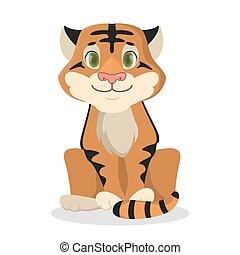 bebê, isolado, tiger.