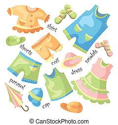 bebê, jogo, roupa