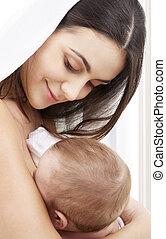 bebê, lar, feliz, mãe