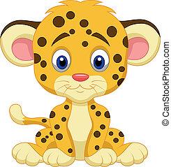 bebê, leopardo, caricatura