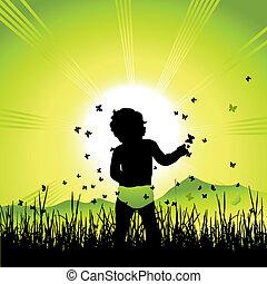bebê, natureza, silueta, pretas