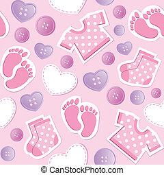 bebê, padrão, seamless, cor-de-rosa