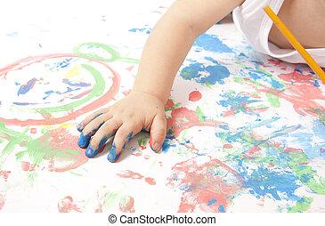 bebê, pequeno, tocando, coloridos