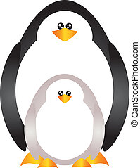bebê, pingüins, ilustração, mãe
