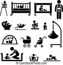 bebê, recem nascido, criança, equipamento, criança