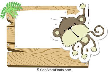 bebê, signboard, macaco