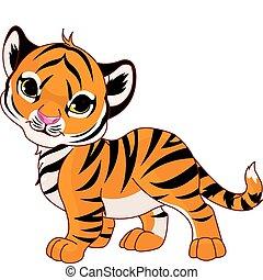 bebê, tiger, andar