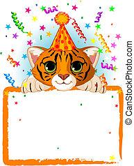 bebê, tiger, aniversário