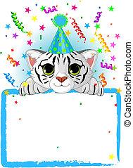 bebê, tiger, branca, aniversário