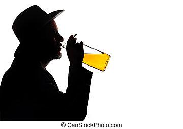 bebendo, homem