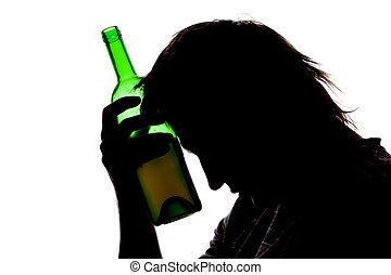 bebendo, homem, silueta, álcool, triste