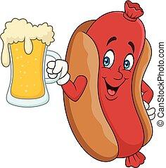 bebendo, hotdog, cerveja, caricatura