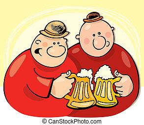 bebendo, sujeitos, cerveja