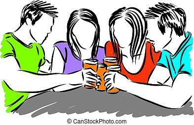 bebendo, vetorial, amigos, cerveja, ilustração