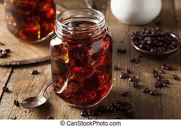 bebida fermentada, gelado, café, caseiro