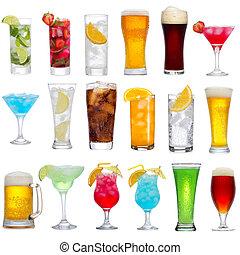 bebidas, coquetéis, diferente, jogo, cerveja