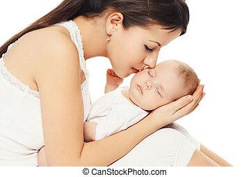 beijando, dela, jovem, mãe, bebê, retrato, amando
