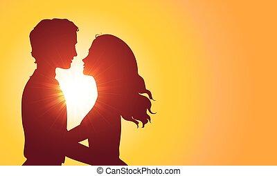 beijando, silhuetas, pôr do sol, par