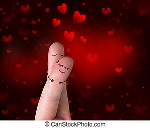 beijo, love's, -, valentine, dedos