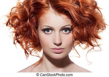 beleza, cabelo ondulado, portrait., fundo, branca