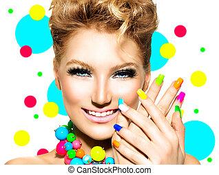 beleza, coloridos, maquilagem, acessórios, lustrador prego, menina