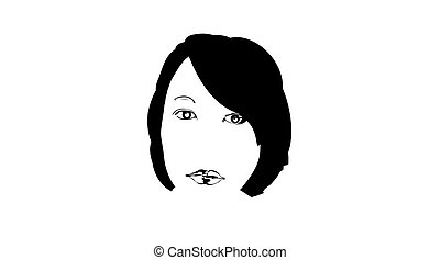 beleza, face., jovem, rosto, femininas, desenhado, isolado, pretas, portrait., experiência., ícone, vetorial, esboço, gravura, menina bonita, mão, ilustração, bonito, branca
