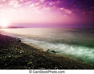 beleza natural, pôr do sol, sea., desenho, seu, paisagem