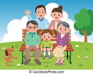 benc, feliz, parque, família, sentando