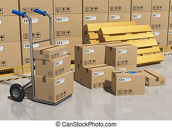 bens, empacotado, armazenamento, armazém