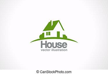 bens imóveis, casa, abstratos, countryside., realty, logotipo, icon.