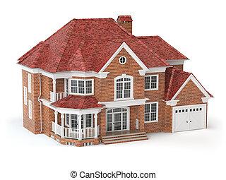 bens imóveis, casa, concept., isolado, white., 3d