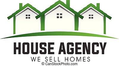 bens imóveis, casa, vetorial, verde, logotipo