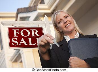 bens imóveis, teclas, casa, agente, sinal, frente