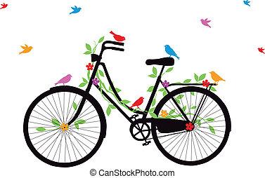 bicicleta, antigas, vetorial, pássaros