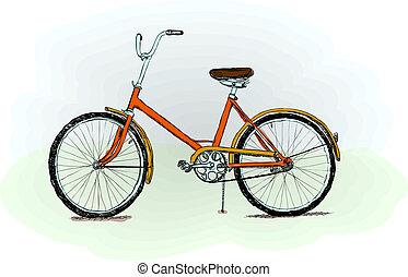 bicicleta, antiquado, vetorial, -