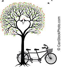 bicicleta, coração, árvore, pássaros
