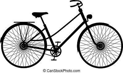 bicicleta, silueta, retro