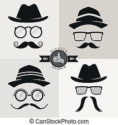 bigodes, hipster, chapéus, óculos, &